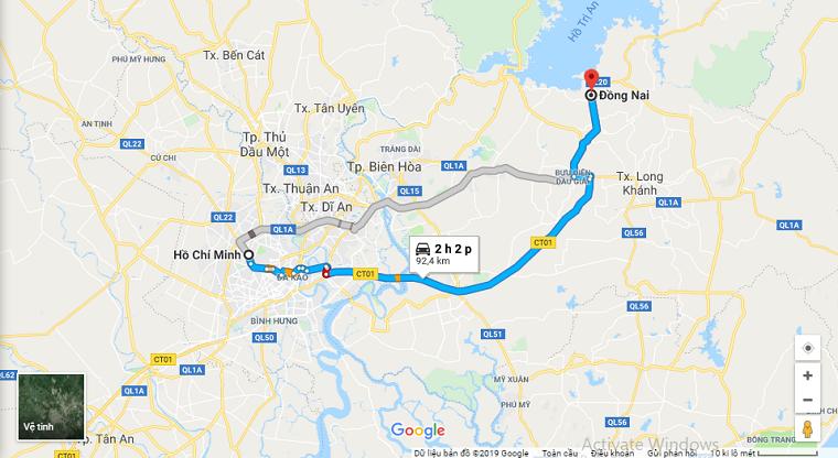 Sài Gòn đi Đồng Nai bao nhiêu km